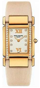 Patek Philippe Twenty 4 18kt Rose Gold Vanilla Strap Diamond Ladies Watch