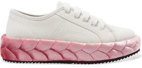 Marco De Vincenzo Leather And Quilted Velvet Sneakers