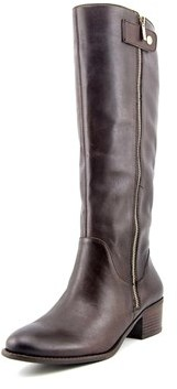 Sole Society Bria Women Round Toe Leather Brown Knee High Boot.