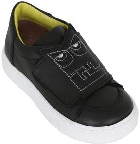 Fendi Monster Logo Leather Sneakers