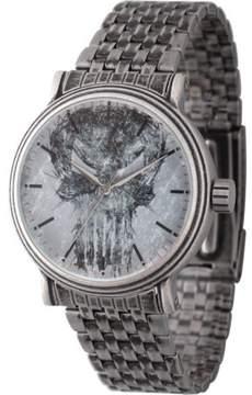 Marvel Knight Present Punisher Men's' Antique Silver Alloy Vintage Watch, Antique Silver Stainless Steel Bracelet