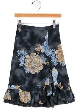 Miss Blumarine Girls' Embellished Floral Skirt