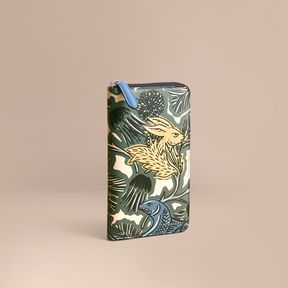 Burberry Beasts Print Leather Ziparound Wallet