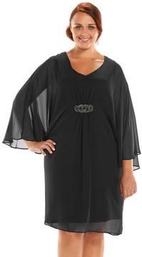 Connected Apparel Plus Size Embellished Chiffon Kimono Dress