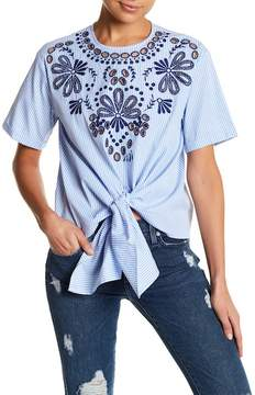Blvd Floral Embroidered Tie Front Shirt