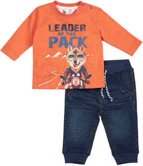 Petit Lem Leader Of The Pack Two-Piece Set, Orange, Size 3-24 Months