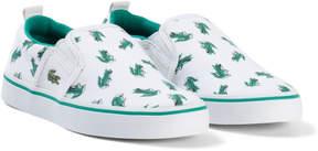 Lacoste White and Green Croc Print Gazon Kids Shoes
