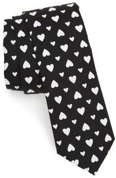 1901 Men's Hearts Print Skinny Tie