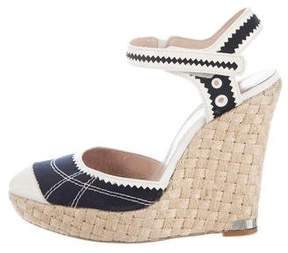 Philosophy di Alberta Ferretti Canvas Platform Wedge Sandals