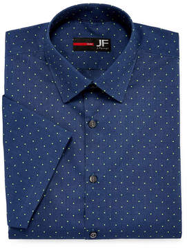 Jf J.Ferrar Stretch Short Sleeve Broadcloth Dots Dress Shirt - Slim