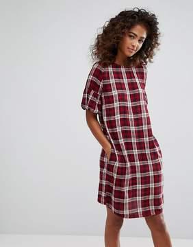 Esprit Check Print Ruffle Sleeve Shift Dress