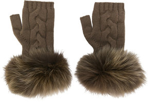Yves Salomon pom pom fingerless gloves