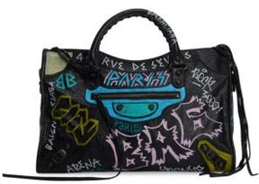Balenciaga Mediu Graffiti Classic City Shoulder Bag
