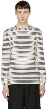 A.P.C. White and Navy Long Sleeve Striped Peter T-Shirt