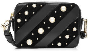 Karl Lagerfeld Leather Shoulder Bag with Faux Pearl Embellishment