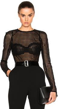 David Koma Macrame Bodysuit in Black.