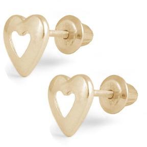 Ice Girls' 14k Yellow Gold Open Heart Stud Earrings