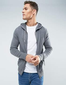 Celio Knitted Hoodie In Gray