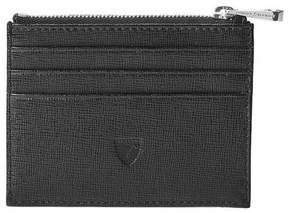 Aspinal of London Zip Top Coin Card Case In Black Saffiano Black Suede