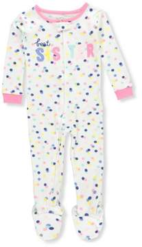 Carter's Girls' Footed Pajamas - white/pink, 4t