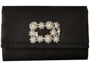 Jessica McClintock Alexis Satin Rhinestone Broach Clutch Clutch Handbags