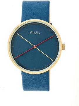 Simplify The 4100 SIM4107 Gold and Blue Leather Analog Watch