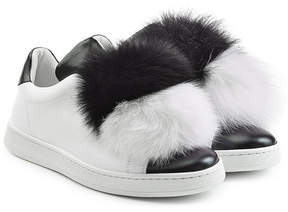 Joshua Sanders Leather Sneakers with Fox Fur