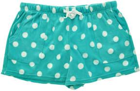 Angelina Aqua Dot Side-Pocket Fleece Boxers - Women & Plus
