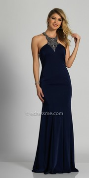 Dave and Johnny Beaded Halter Strappy Back Fitted Evening Dress