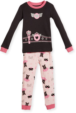 Petit Lem Two-Piece Dress-Up-Print PJs, Dark Gray, Size 12-24 Months