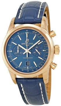 Breitling Transocean Chronograph 38 Blue Dial 18kt Rose Gold Men's Watch