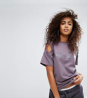 Ellesse Oversized T-Shirt With Deconstructed Lace Up Sleeves And Tonal Logo