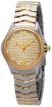 Ebel Wave Diamond Pave Dial Ladies Steel and 18K Yellow Gold Watch