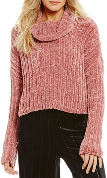 Chelsea & Violet Chenille Turtleneck Oversized Cropped Sweater