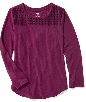 Old Navy Lace-Yoke Linen-Blend Top for Girls