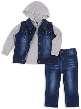 7 For All Mankind Boys' Denim Vest, Hooded Top & Skinny Jeans Set - Little Kid