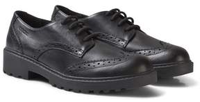 Geox Black Casey Jr Leather Brogues
