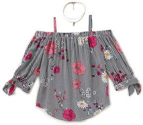 I.N. Girl Big Girls 7-16 Floral-Print Cold-Shoulder Top