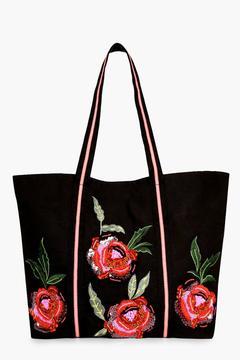 boohoo Mia Floral Embroidered Shopper Bag