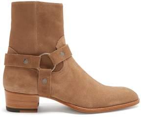 Saint Laurent Wyatt harness-detail suede ankle boots