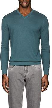Loro Piana Men's Textured Cotton-Blend V-Neck Sweater