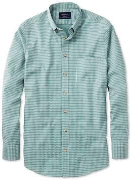 Charles Tyrwhitt Slim Fit Non-Iron Poplin Green and Navy Check Cotton Casual Shirt Single Cuff Size XS