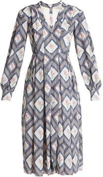 Emilia Wickstead Sidney tapestry-print pleated crepe midi dress