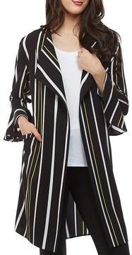 Peter Nygard Striped Bell Sleeve Duster
