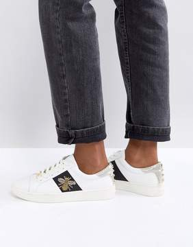 Dune London Ebie Bee Embellished Leather Sneakers