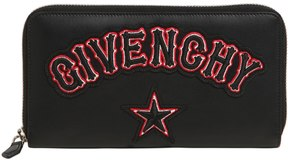 Givenchy Gothic Logo Patch Zip Around Wallet