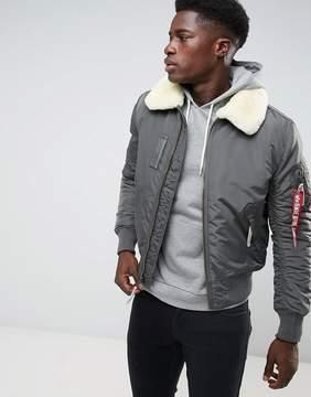 Alpha Industries Bomber Jacket Shearling Collar in Gray Black