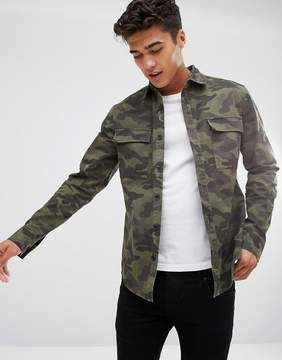 ONLY & SONS Overshirt In Camo