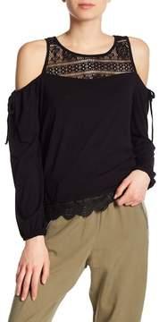 Dex Cold Shoulder Crochet Lace Insert Top
