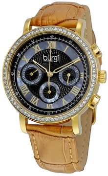 Burgi Blue Mother of Pearl Dial Beige Leather Strap Ladies Watch